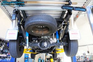 Rear mid underbody shot of the fitted Nitro Gas Shocks + Leaf Springs with U-Bolt Kit