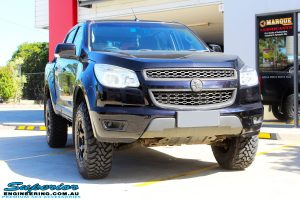 """Front on shot of a Black Holden RG Colorado Dual Cab after fitment of a Superior Nitro Gas 2"""" Inch Lift Kit with King Coil Springs, Fuel Beast Wheels & Toyo Open Country Tyres"""