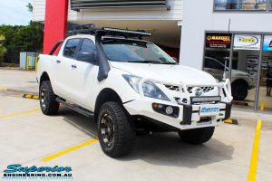 Right front side view of a Mazda BT50 Dual Cab before fitment of a wide range of Superior 4wd Suspension