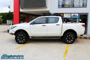 Left side view of a Mazda BT50 Dual Cab after fitment of a wide range of Superior 4wd Suspension