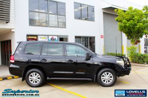 Right side view of a Toyota 200 Series Landcruiser before fitment of a Lovells GVM Upgrade Suitable For Toyota Landcruiser 200 Diesel 11/07 on 3800kg (OE 3300kg) Post Registration