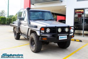 "Right front side view of a Silver Toyota 79 Series Landcruiser before fitment of a Superior Nitro Gas 2"" Inch Lift Kit"
