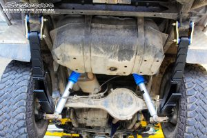"""Rear mid underbody view of the fitted Superior 2"""" Inch Nitro Gas Shocks with Leaf Springs"""