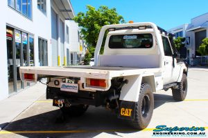 Rear right side view of a Toyota 79 Series Landcruiser Single Cab Ute before fitment of a Superior Brake Booster