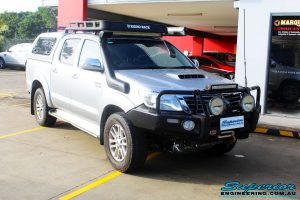 """Right front side view of a Toyota Vigo Hilux Dual Cab before fitment of a Superior Remote Reservoir 2"""" Inch Lift Kit with King Coil Springs"""