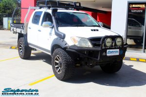 """Right front side view of a Toyota Vigo Hilux Dual Cab before fitment of a Superior Remote Reservoir 3"""" Inch Lift Kit with King Coil Springs"""