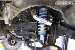 """Front right inside guard view of the fitted front Superior 3"""" Adjustable Monotube Remote Reservoir Strut + Coil Spring & Superior Billet Alloy Upper Control Arms"""
