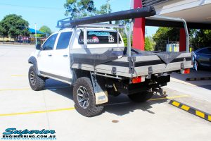 """Rear left view of a Toyota Vigo Hilux Dual Cab after fitment of a Superior Remote Reservoir 3"""" Inch Lift Kit with King Coil Springs & Superior Billet Alloy Upper Control Arms"""