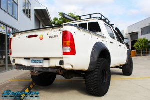 """Rear right view of a Toyota Vigo Hilux Dual Cab before fitment of a Superior Remote Reservoir 3"""" Inch Lift Kit with King Coil Springs"""