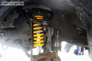 Front left inside view of the fitted Nitro Gas Front Strut + King Coil Springs