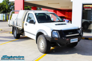 Right front side view of a White Isuzu D-Max Single Cab before fitment of a EFS 40mm Lift Kit