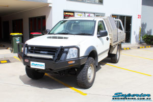 Left front side view of a White Isuzu D-Max Single Cab after fitment of a EFS 40mm Lift Kit