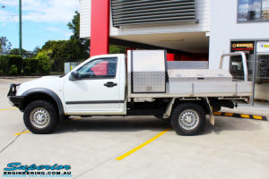 Left side view of a White Isuzu D-Max Single Cab after fitment of a EFS 40mm Lift Kit