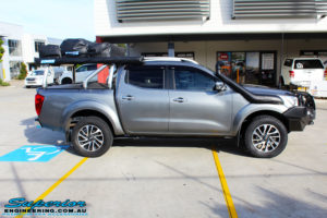 """Right side view of a Nissan NP300 Navara Dual Cab before fitment of a 2"""" Inch Lift Kit"""