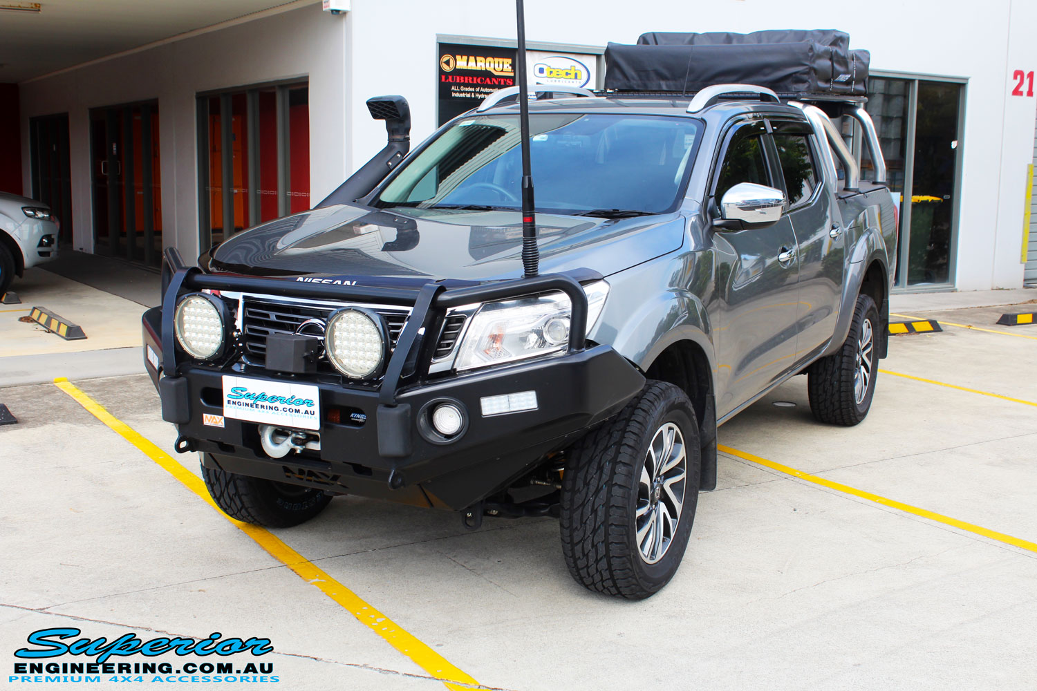 "Left front side view of a Nissan NP300 Navara Dual Cab after fitment of a 2"" Inch Lift Kit"
