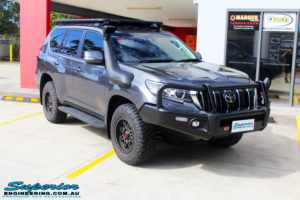 """Right front side view of a Toyota 150 Landcruiser Prado in Grey before fitment of a 2"""" Inch Lift Kit"""