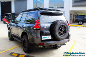 """Rear left view of a Toyota 150 Landcruiser Prado in Grey before fitment of a 2"""" Inch Lift Kit"""