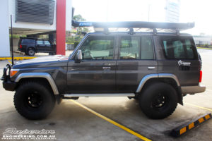 """Left side view of a Toyota 76 Series Landcruiser Wagon in Grey before fitment of a EFS 2"""" Lift Kit"""