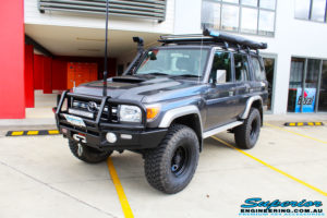 """Left front side view of a Toyota 76 Series Landcruiser Wagon in Grey before fitment of a EFS 2"""" Lift Kit"""