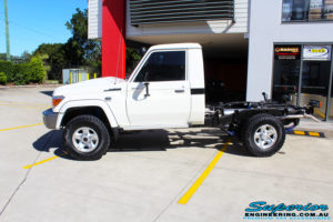 Left side view of a Toyota Landcruiser 79 Series after fitment of a Lovells GVM Upgrade