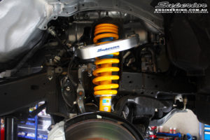 Front left inside guard view of the fitted Bilstein Front Strut with King Coil Spring & Superior Billet Alloy Upper Control Arm