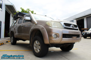 """Right front side view of a Toyota Vigo Hilux Dual Cab after fitment of a Superior Nitro Gas 3"""" Inch Lift Kit"""
