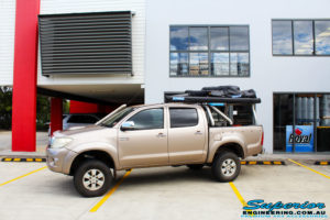 """Left side view of a Toyota Vigo Hilux Dual Cab after fitment of a Superior Nitro Gas 3"""" Inch Lift Kit"""