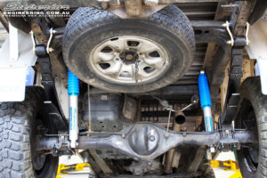 """Rear mid underbody view of the fitted Superior Nitro Gas 2"""" Shocks with Leaf Springs & Greaseable Rear Shackles"""